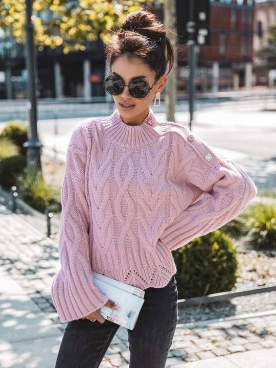 Sweter pÓłgolf COCOMORE rÓżowy 9811121133 Odzież Damska Swetry PS CPZVPS-1