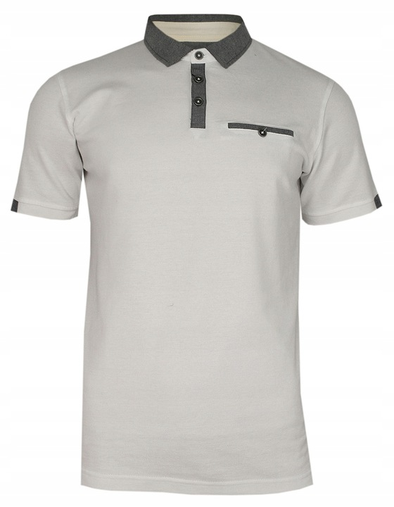 Kremowo-Szara Elegancka Koszulka Polo CHIAO L 9420882902 Odzież Męska Koszulki polo VE PTFOVE-8