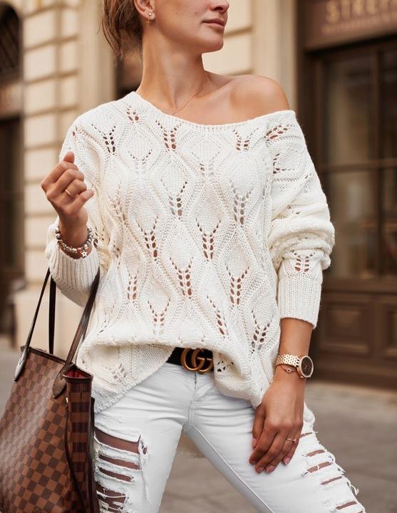 Mięciutki kobiecy sweter ażurowy oversize 9819170792 Odzież Damska Swetry ZB CCOLZB-1