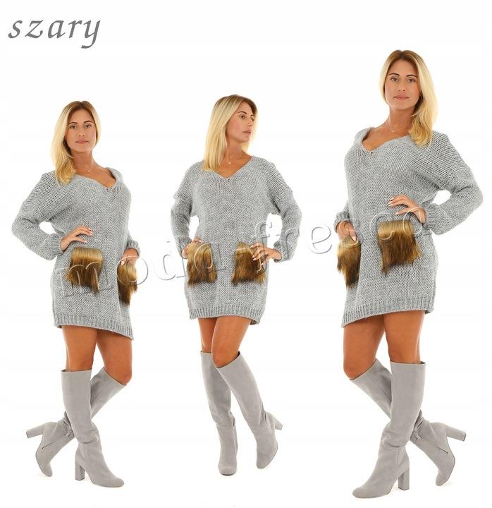 M921 ciepła PUSZYSTA tunika SUKIENKA alpaka FUTRO 8399902708 Odzież Damska Swetry UN WXMRUN-4