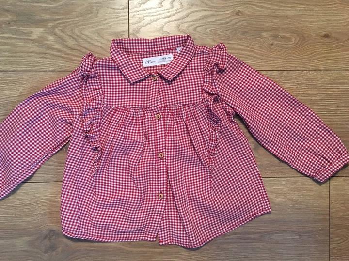 ZARA 92 czerwona krata koszula bluzka falbanki 9818389977 Dziecięce Odzież KQ SVOTKQ-9