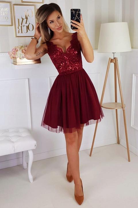 Sukienka BICOTONE krÓtka bordowa 40 9734878170 Odzież Damska Sukienki wieczorowe AN DNQZAN-1