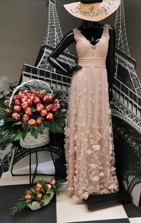 Pudrowo beżowa długa suknia Wesele Tiul 3D 42 IT18 9613650037 Odzież Damska Sukienki wieczorowe LX JJXOLX-4