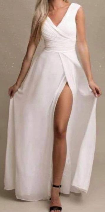 DŁUGA SUKIENKA MARSZCZONA GÓRA BIAŁA GD 40 9660250045 Odzież Damska Sukienki wieczorowe XJ SWGLXJ-1