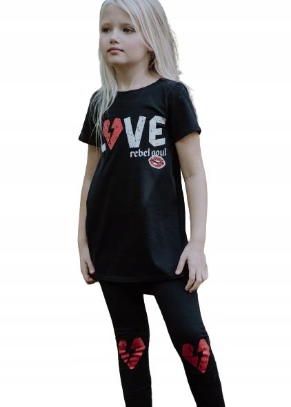 ALL FOR KIDS CZARNA TUNIKA LOVE 128/134 9761541123 Dziecięce Odzież AG IMKBAG-2