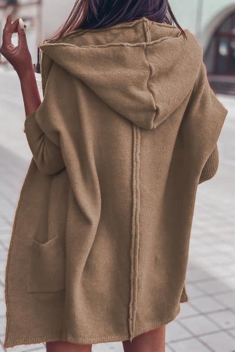 Sweter narzutka kardigan z kapturem 9434835742 Odzież Damska Swetry XW NHVVXW-5