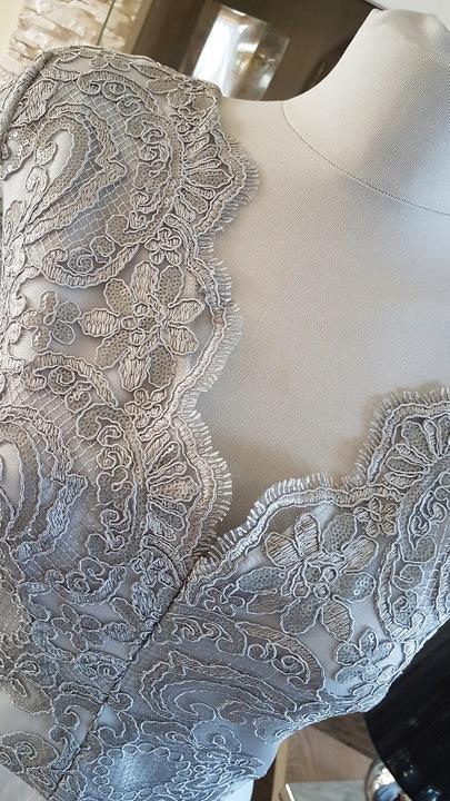 Długa szara sukienka wieczorowa na wesele 46 9653322097 Odzież Damska Sukienki wieczorowe XI WHXQXI-5
