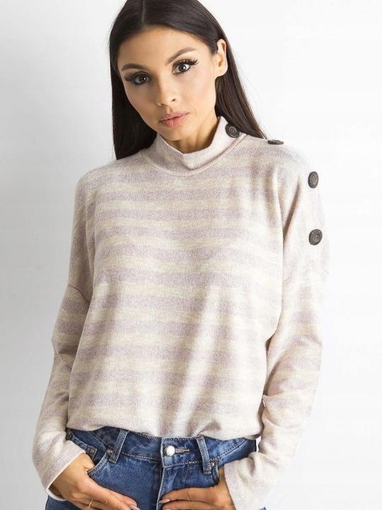 Modny pÓłgolf damski w paski beżowo rÓżowy r.M 9583797525 Odzież Damska Swetry QT EUWKQT-8