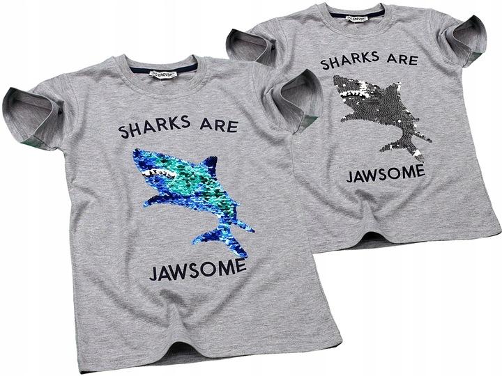 T-SHIRT Bluzka REKIN Magiczne CEKINY Koszulka 128 9543258424 Dziecięce Odzież SH HKIESH-1
