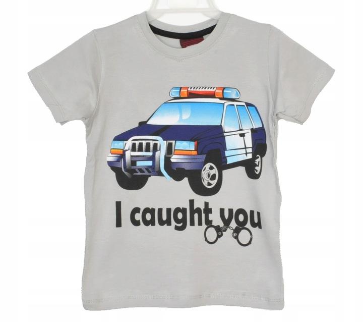 Bluzka dziecięca auto policja szara kr rękaw 2 l 9217046088 Dziecięce Odzież DO HESGDO-6