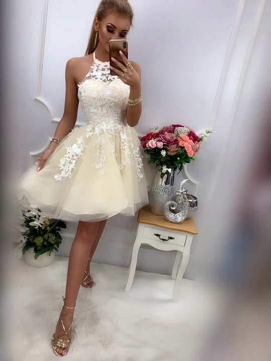 Lolita Pudrowa ROZKLOSZOWANA z tiulem S 9705405715 Odzież Damska Sukienki wieczorowe AL OSTOAL-1
