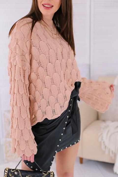 Sweter Bluzka z szerokimi rękawami ze splotem rÓż 9762991231 Odzież Damska Swetry XL KUCXXL-9