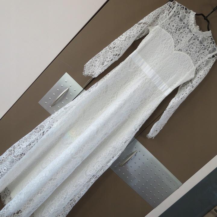 TFNC sukienka ślubna koronkowa biała dluga TF67 9098011653 Odzież Damska Sukienki wieczorowe UK LYLNUK-2