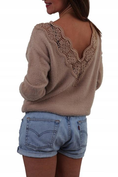 ELEGANCKI SWETEREK OZDOBNE PLECY AŻUR KORONKA MIX 9812108096 Odzież Damska Swetry DC ZVMYDC-8
