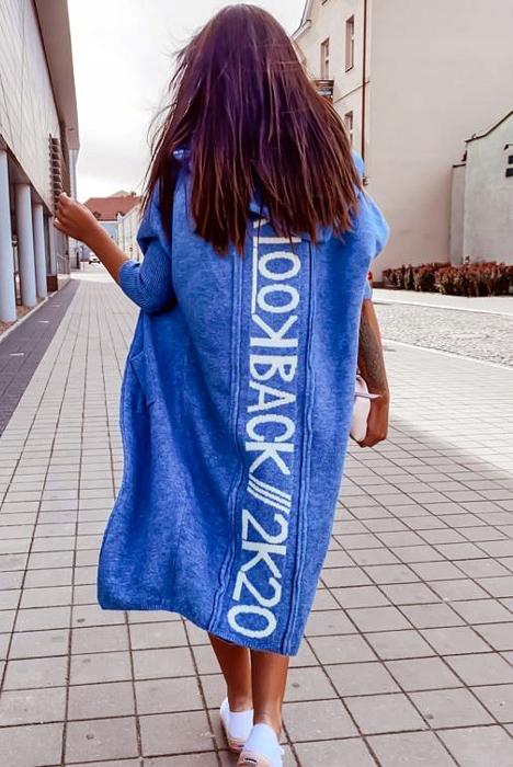 Długi sweter narzutka kardigan z kapturem 9325988360 Odzież Damska Swetry SQ GIKCSQ-8
