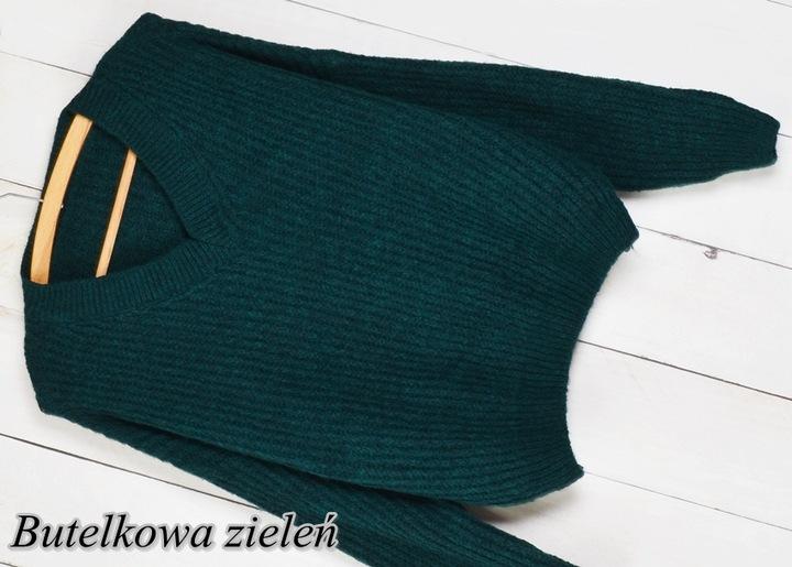 740 MIĘCIUTKI SWETER OVERSIZE DEKOLT V kolory 9803816828 Odzież Damska Swetry KR WXTYKR-6