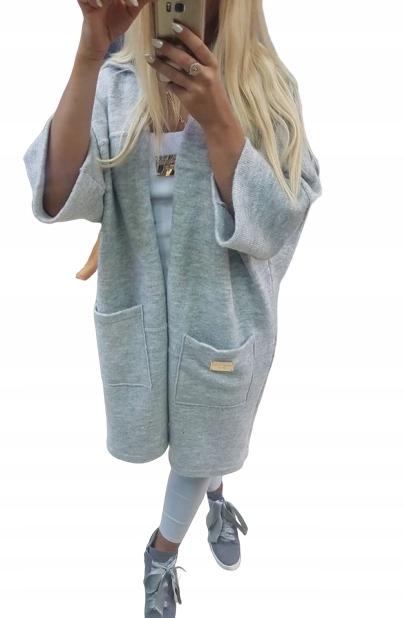 CUDNY sweter NARZUTKA PŁASZCZ PAPARAZZI HIT 9494124929 Odzież Damska Swetry KU JWIUKU-7
