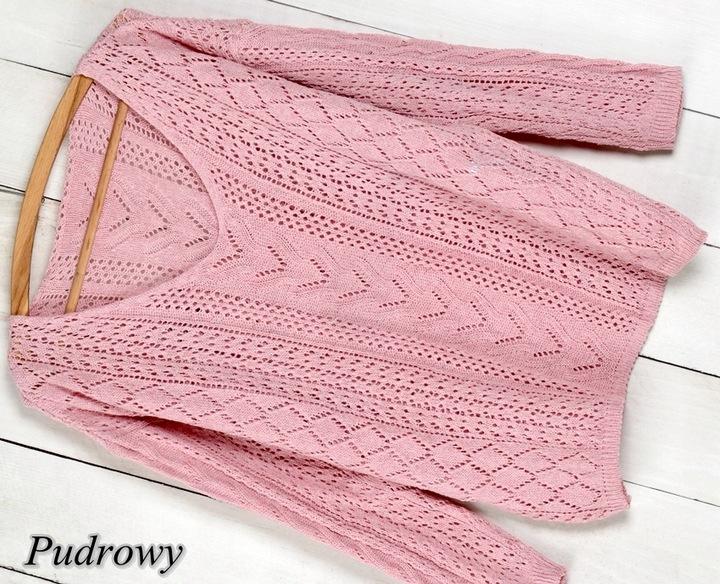 T1 MIĘCIUTKI AŻUROWY SWETER dekolt V kolory 9614570877 Odzież Damska Swetry BE GCMQBE-7