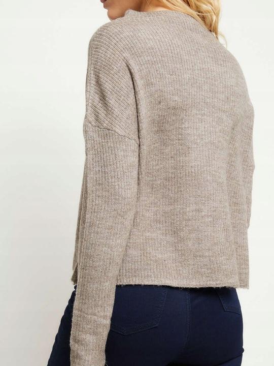 Sweter krÓtki ze stÓjką szary 9552676055 Odzież Damska Swetry EG CMRNEG-7