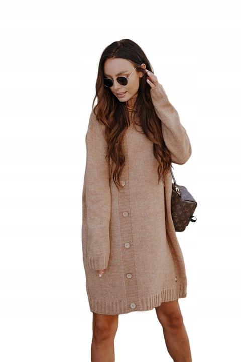 Swetrowa sukienka z golfem i guzikami LS304 kamel 9756742672 Odzież Damska Swetry YB MKKFYB-2