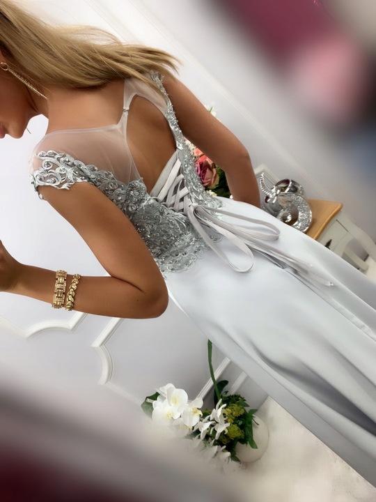 Jaguar SZARO SREBRNA DŁUGA SUKNIA GIPIURĄ ślub XL 9665675599 Odzież Damska Sukienki wieczorowe DZ OPLPDZ-4