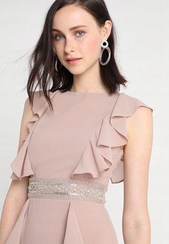Sukienka wieczorowa beżowa z falbanami TFNC _ 36 9253957823 Odzież Damska Sukienki wieczorowe LU EGERLU-8