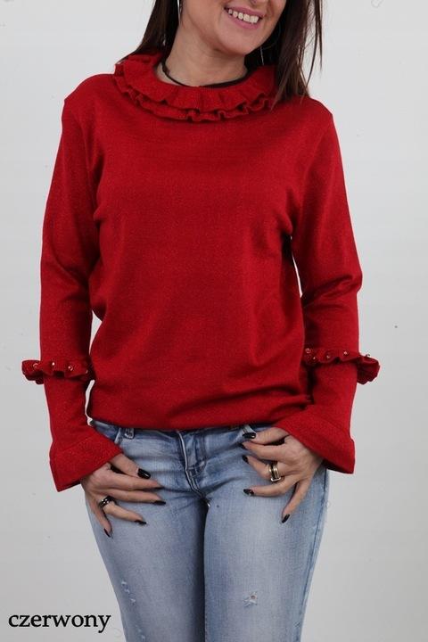 MODNY BŁYSZCZĄCY SWETEREK FALBANKI DŻETY KOLORY 9788010616 Odzież Damska Swetry ND DOYNND-3