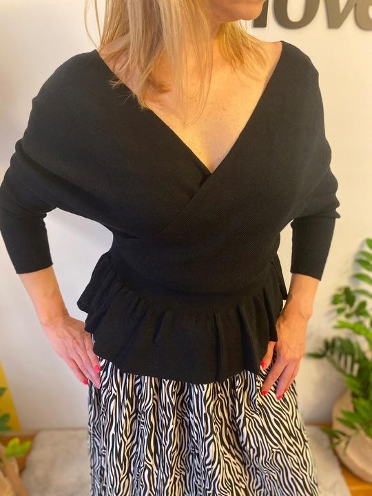 Czarny kopertowy sweter z baskinką S/M 9754297973 Odzież Damska Swetry DO PNBHDO-5