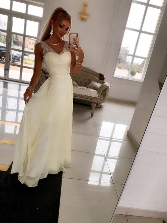 BEATRYCZE PUDROWA SUKIENKA ślub cywilny L 9529796912 Odzież Damska Sukienki wieczorowe YO WUOTYO-1