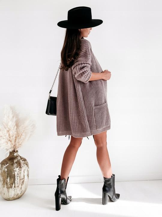 sweter kardigan narzutka długi na jesień ciepły 9812420782 Odzież Damska Swetry YB TIKSYB-2