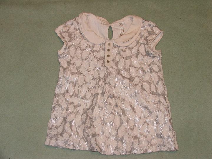 Bluzka koronka cekiny kołnierzyk na święta 5L NEXT 9882946381 Dziecięce Odzież HA LFOSHA-6