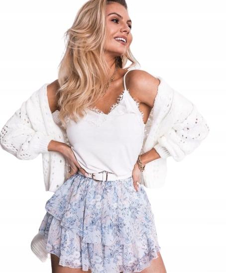 Sweter ażurowy rozpinany biały 9571936939 Odzież Damska Swetry VS GWEQVS-4