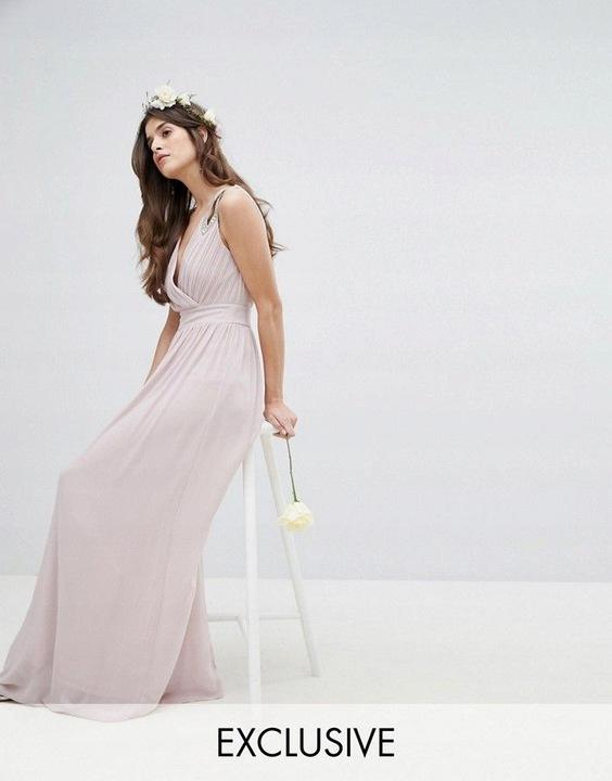 TFNC RÓżowa szyfonowa suknia cekiny (40) 9827807503 Odzież Damska Sukienki wieczorowe FG TPMEFG-2