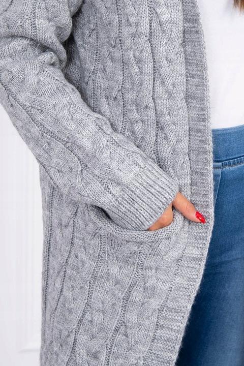 Sweter z kapturem i kieszeniami szary 9702950576 Odzież Damska Swetry MY ATKCMY-8