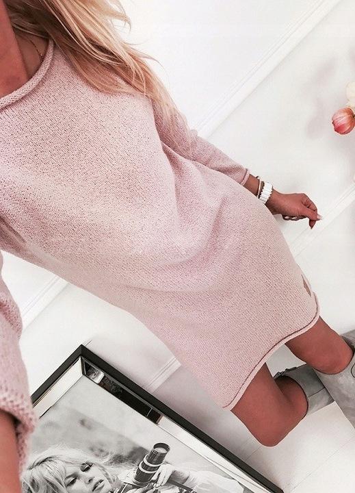 CUDNY sweter TUNIKA SUKIENKA me gusta kolory BEŻ 9708856779 Odzież Damska Swetry ED DMRRED-3