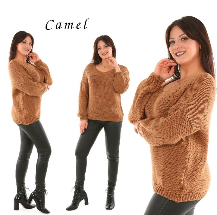 M928 włoski CIEPŁY sweter ALPAKA dekolt 9779583621 Odzież Damska Swetry HF UJIZHF-8