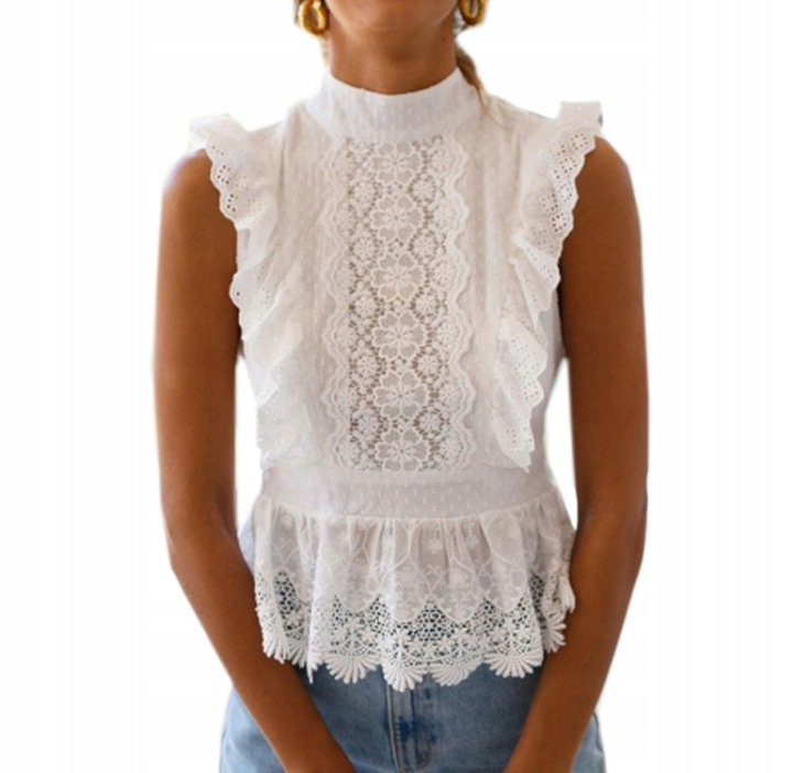 WHITE LACE SHIRT OUTSIDE BACK EMBROIDERY M 9664447134 Odzież Damska Topy WX WSMIWX-8