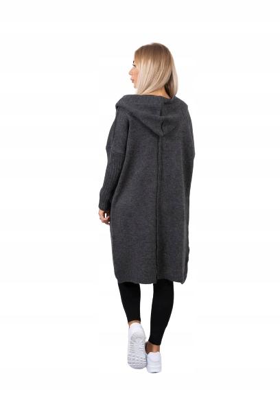 Kardigan sweter długi z kapturem, oversize 9808861184 Odzież Damska Swetry ET NFBRET-6