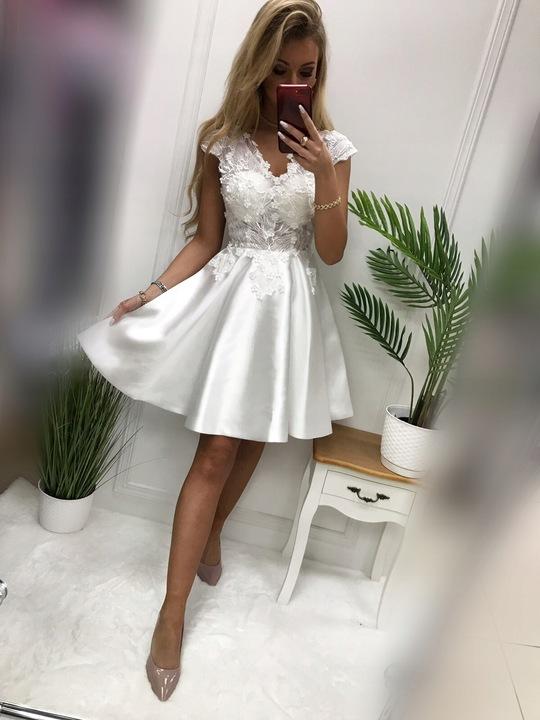 Kaja BIAŁA ROZKLOSZOWANA SUKIENKA M 9232737475 Odzież Damska Sukienki wieczorowe UH FMGEUH-9
