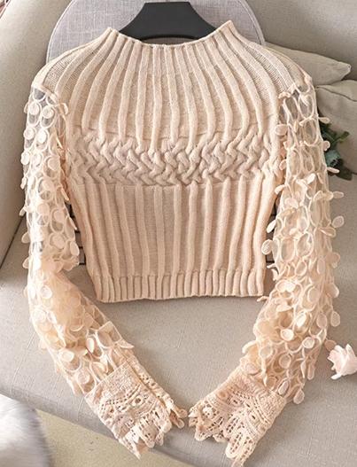 MD SWETER sweterek jasny beż koronka oversize 9474220346 Odzież Damska Swetry IQ EYVAIQ-1