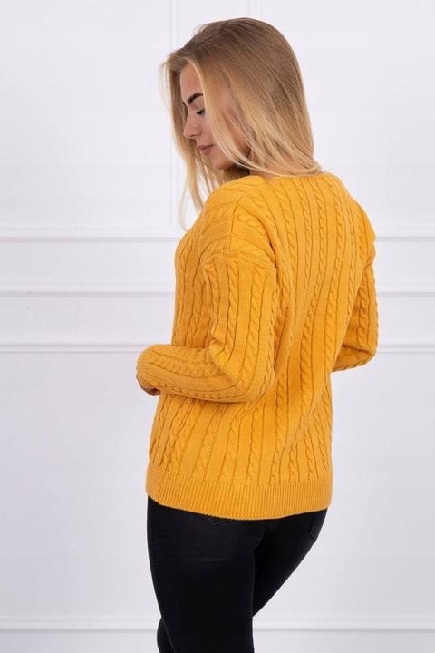 Sweter damski pleciony z dekoltem V Musztardowy 8910145213 Odzież Damska Swetry YN TFVRYN-3