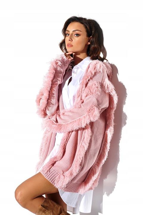SZEROKI oversizowy KARDIGAN Z FRĘDZLAMI RÓŻOWY 9583632234 Odzież Damska Swetry LE ODPOLE-4