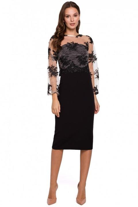 K013 Sukienka wieczorowa z koronką CZARNA 42 XL 8786579663 Odzież Damska Sukienki wieczorowe EO RAPDEO-1