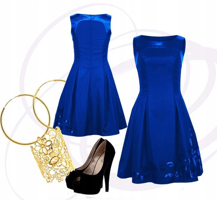 Chabrowa sukienka koktajlowa aplikacja wesele 38 9537071468 Odzież Damska Sukienki wieczorowe CN YWVCCN-5