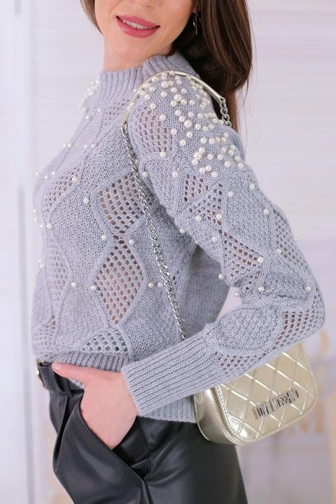 Sweter Bluzka z perłami ażurowy splot szary 9766694230 Odzież Damska Swetry WQ XFONWQ-9