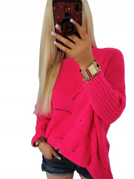 Cudowny sweter damski tunika ażur oversize kolory 9572693356 Odzież Damska Swetry DL GVFPDL-9