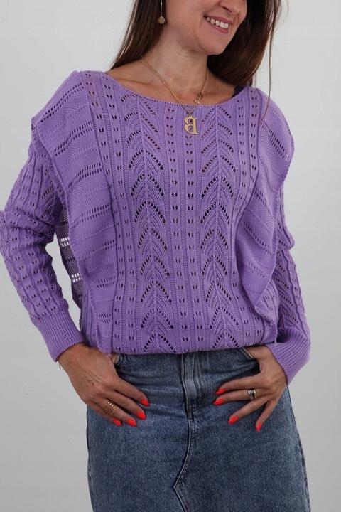 DELIKATNY LEKKI SWETEREK AŻUROWY FALBANKI KOLORY 9632633947 Odzież Damska Swetry TP TIMHTP-3