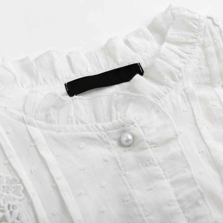 WOMEN'S WHITE FLOWERS SHIRT VINTAGE COTTON S 9664446754 Odzież Damska Topy BZ BAQBBZ-5