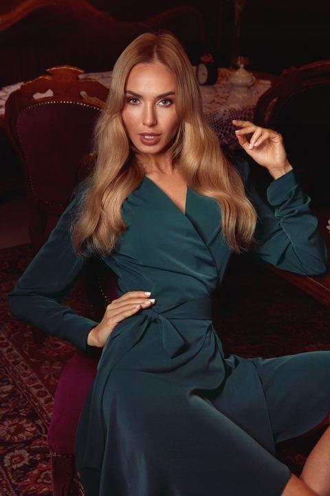 MOE Sukienka na zakładkę wiązana w pasie - L/40 8725629979 Odzież Damska Sukienki wieczorowe HH EDFSHH-3