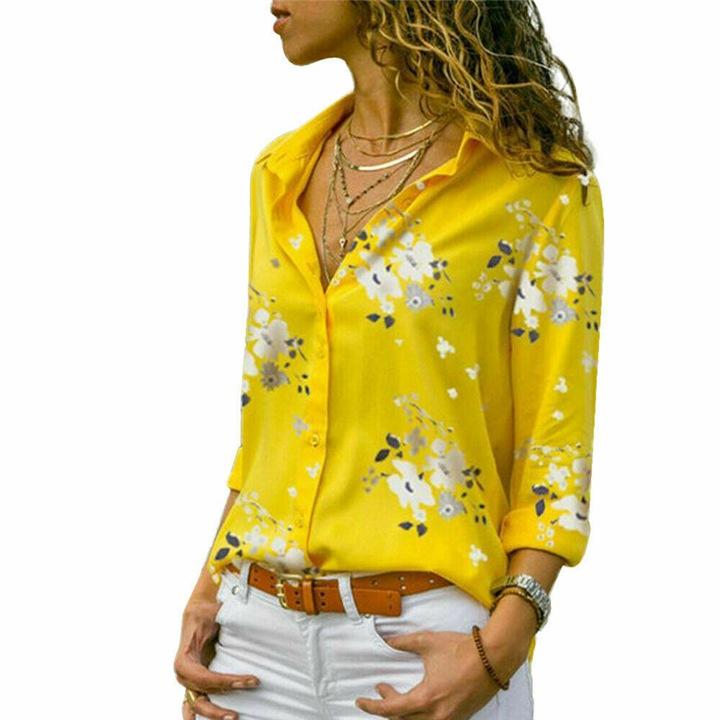 MODERN WOMEN'S CLASSIC FLORAL SHIRT 9664445337 Odzież Damska Topy ZH YDKNZH-9